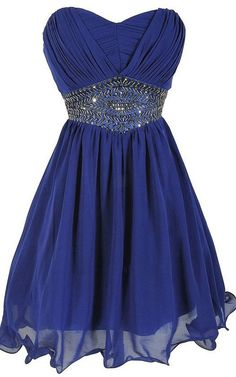 Royal Blue Sweetheart Sleeveless Mini Empire Beading Pleats Strapless Short Homecoming Dress