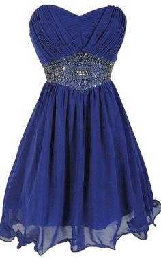 Royal Blue Sweetheart Sleeveless Mini Empire Beading Pleats Strapless Short Homecoming Dress