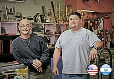 LEFT TO RIGHT: AARON AND CESAR R.MARQUEZ (USA) (EL SALVADOR) OWNER & OPERATOR AT PAWN SHOP; ASSISTANT MANAGER, STRANGERS INTO NEIGHBORS: THE LATINOS AND HISPANICS IN ALAMANCE COUNTY, NC PHOTO PROJECT AND PUBLIC EXHIBITION/ PROYECTO Y EXPOSICION FOTOGRAFICA PUBLICA [https://www.facebook.com/STRANGERSINTONEIGHBORS] [The KELTEHÜE News...]