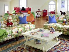 Colorful Sofas - 12 Playful Game Rooms on HGTV