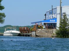 The Dockside Restaurant; Bellaire, MI -- burgers, beverages, and a view of Torch Lake