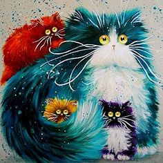 cat decor wall - JonathanOutletStore Cats High Quality Oil painting On Canvas Home Wall Decor Frameless print 16x20 inch *** Details can be found by clicking on the image. (This is an affiliate link) #CatDecor
