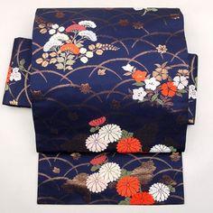 Navy, silk nagoya obi / 紺色地に金色の品のよい名古屋帯 http://www.rakuten.co.jp/aiyama #Kimono…