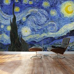 Amazon.com - Wall26® - Starry Night by Vincent Van Gogh - Dutch Impressionism - 20th Century Artist - Wall Mural, Removable Sticker, Home Decor - 66x96 inches -