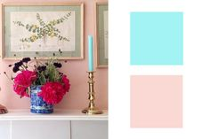 Tropical Fish Tank Castle + Nanna's Cafe Curtains~ Pairing a super bright contemporary hue like this electric aqua with a conservative one, completely reenergizes a staid—even stuffy—color. Welcome to the renaissance of dusty rose.
