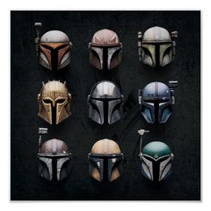 Mandalorians Helmets   We hope you've come well-prepared because you're now entering the wild outer reaches of the Star Wars universe; welcome to Zazzle's officially licensed store for The Mandalorian! Some years have passed since the fall of the Empire, but order has yet to be fully restored to a ravaged galaxy. As the New Republic attempts to pick up the pieces, we follow the story of a lone Mandalorian gunfighter operating in the sparsely populated but chaotic Outer Rim territories. Clad in t Images Star Wars, Star Wars Pictures, Tableau Star Wars, Dragon Rey, Chasseur De Primes, Star Wars Helmet, Cuadros Star Wars, Mandalorian Cosplay, Star Wars Bounty Hunter