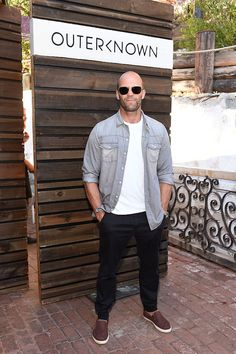MALIBU, CA - AUGUST 29:  Jason Statham attends Kelly Slater, John Moore and Friends Celebrate the Launch of Outerknown at Private Residence on August 29, 2015 in Malibu, California.  (Photo by Stefanie Keenan/Getty Images for Outerknown)