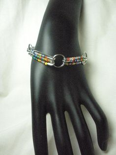 Multicolored Beaded Fashion Safety Pin Bracelet by madebymandy35, $8.00