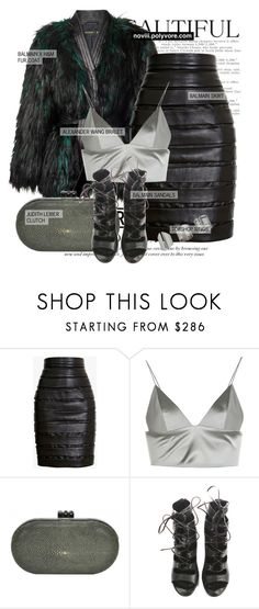 """""""Untitled #1201"""" by noviii ❤ liked on Polyvore featuring Balmain, T By Alexander Wang, Judith Leiber and Topshop"""