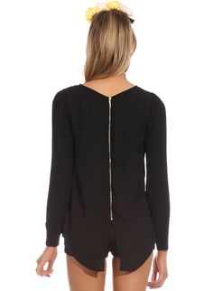 Black Long Sleeve Zip Split Back Blouse 18.49