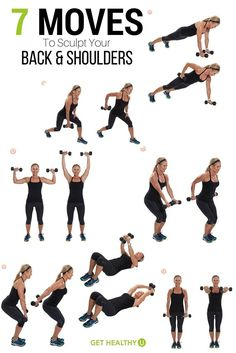 Workout Routines For The Gym : Here are 7 of our favorite moves to sculpt your back and shoulders! - All Fitness Slim Fitness, Body Fitness, Health Fitness, Workout Fitness, P90x Workout, Workout Pics, Fitness Wear, Pilates Workout, Workout Routines