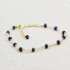 Sapphire Bracelet Navy Blue Bracelet September by NansGlam on Etsy, $40.00