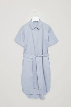 COS image 2 of Belted shirt dress in Dusty Blue