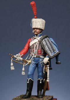 Figurines à pied : Trompette du 1er rgt. de hussards 1806 compagnie d'élite