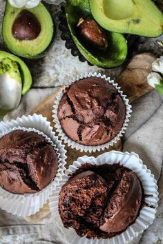 Vegan avocado chocolate muffins with cacao nibs. I might try these with coconut flour and maybe some maca powder instead of sugar.