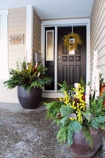 container arrangements, plus, the white birch sticks, great for fall/winter