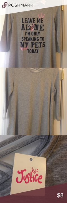 NWT: Justice t-shirt Graphic t-shirt Grey 3/4 length sleeves Justice Shirts & Tops Tees - Long Sleeve