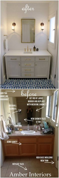 Stunning before and after by Amber Interiors, proof all dull spaces have potential! white bathroom cabinets/gold accents/blue and white tile floor Guest Bathroom Remodel, Home, Remodel, Home Remodeling, Amber Interiors, Guest Bathroom, Bathroom Renovations, Renovations, Bathroom Design