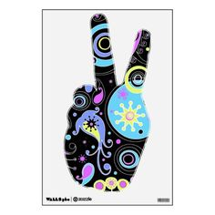 funky paisley abstract hippie design room sticker
