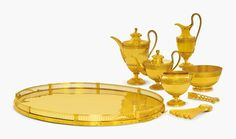 A gold tea and coffee service of Grand Duchess Elena Pavlovna (1784-1803), the fourth child  of Emperor Paul I, and his wife Empress Maria Feodorovna.  Historians believe that a tradition to give golden tea sets to children and grandchildren dates back to 1779 when Russian Empress Catherine the Great ordered a golden coffee set for her two-year-old elder grandson future Russian Emperor Alexander I. ROYAL RUSSIA: News, Videos & Photographs About the Romanov Dynasty, Monarchy and Imperial…