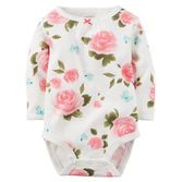 With a tiny pleated neckline and bold floral print, this cotton rib bodysuit is super cute for your baby girl.<br>