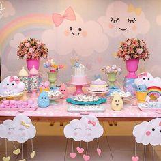 first birthday party ideas boys Rainbow Birthday, Unicorn Birthday Parties, Unicorn Party, Baby Birthday, Cloud Party, Idee Baby Shower, Baby Shower Themes, Birthday Decorations, First Birthdays