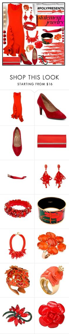 """#polypresents Statement Jewelry"" by jeneric2015 ❤ liked on Polyvore featuring Givenchy, Aerosoles, Judith Leiber, Masquerade, Oscar de la Renta, jared, Hermès, BaubleBar, Roberto Cavalli and Michael Kanners"