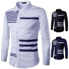 Luxury Mens Long Sleeve Fashion Casual Shirt Slim Fit Stylish Dress Shirts Tops in Clothing, Shoes & Accessories, Men's Clothing, Casual Shirts African Shirts For Men, African Dresses Men, African Clothing For Men, Nigerian Men Fashion, African Men Fashion, Mens Fashion, Style Fashion, Casual Shirts For Men, Men Casual