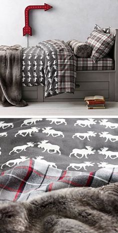 Moose Flannel & Lodge Plaid Flannel Bedding Collection