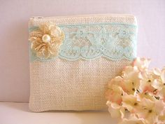 Burlap And Lace Clutch - Burlap Makeup Bag - Aqua Blue Lace Clutch - Ivory Burlap Bag - Something Blue - Rustic Clutch - Flower Girl Gift by SewSouthwest on Etsy