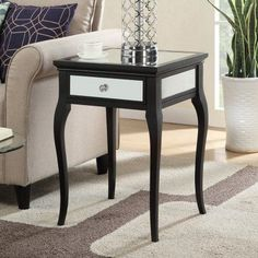 Convenience Concepts Milan Mirrored End Table - 227710