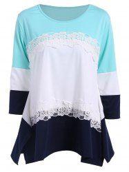 3/4 Sleeve Color Block Asymmetric T Shirt in Azure | Sammydress.com Mobile