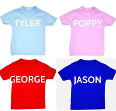 Child's Tshirt  with  any name  free postage uk on Etsy, £8.99