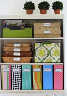Use a label maker to keep important files,, magazines, and other papers organized in your office.