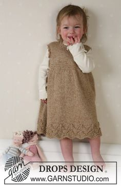 Knitting Patterns Galore - DROPS Dress Kids Knitting Patterns, Knitting For Kids, Crochet For Kids, Drops Design, Knit Baby Dress, Knitted Baby Clothes, Drops Baby, Cotton Viscose, Viscose Dress