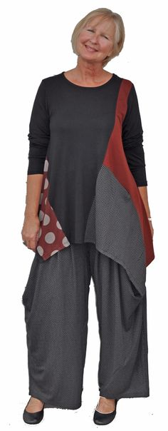 Elegant coordinating tunic top with tulip pants. Pieced and ayssemetrical and amazing!!!