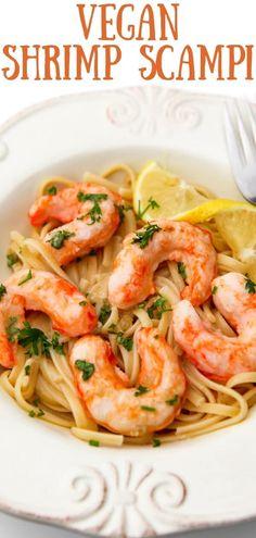 Vegan Shrimp, Vegan Fish, Vegan Pasta, Easy Pasta Recipes, Vegan Recipes Easy, Crockpot Recipes, Wine Butter, Easy Vegan Dinner, Scampi