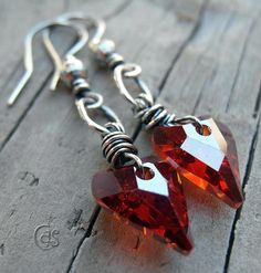 Red Heart Earrings Swarovski Crystal Jewelry by ArtandSoulJewelry, $35.00
