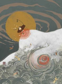 Maneater, by Victor Ngai Dreamed of floating, untethered, in the middle of the ocean, and of giant waves that threatened to swallow me up. Chinese Painting, Chinese Art, Asian Art, Japanese Art, Art Inspo, Illustrators, Fantasy Art, Modern Art, Cool Art