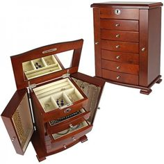 Petrus Big Bear Upright Jewelry Box - Dark Walnut