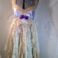 Clearance all sales Final ON clearance Items! Beautiful Romantic Recycled Upcycled shabby chic slip dress with vintage fabric and tulle . This is a