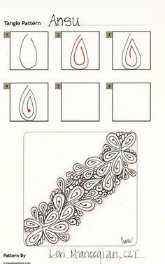 Online instructions for drawing CZT® Lori Manoogian's Zentangle® pattern: Ansu.