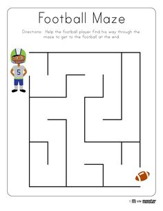 Toddler Printables Football See the category to find more printable coloring sheets. Also, you could use the search box to find what you want. Sports Activities For Kids, Puzzles For Toddlers, Kids Learning Activities, Preschool Activities, Kids Mazes, Mazes For Kids Printable, Free Printable Worksheets, Printable Coloring, Free Printables