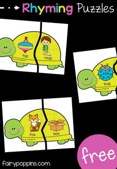 Turtle Rhyming Puzzles These FREE rhyming puzzles feature a cute turtle theme. They help kids learn to identify CVC words that rhyme. puzzles The post Turtle Rhyming Puzzles appeared first on Toddlers Diy. Rhyming Activities, Kindergarten Literacy, Literacy Centers, Rhyming Preschool, Learning Activities, Phonological Awareness, Cvc Words, Business For Kids, Kids Education