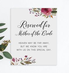 Mother Of The Groom Memorial Sign - Memorial Sign for Chair Pew - Printable Wedding Sign - Burgundy Flowers Wedding Reserved Sign Unplugged Wedding Sign, Wedding Ceremony Signs, Floral Wedding, Wedding Flowers, Bouquet Charms, Remembrance Gifts, Burgundy Flowers, Wedding Memorial, Bridal Gifts