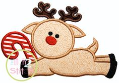 Reindeer Candy Cane Applique  Adorable for babies!