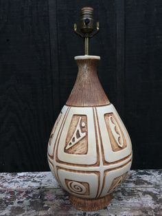 Vintage Incised MCM Table Lamp