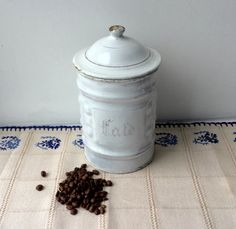 French white enamel coffee storage tin / jar / by LeKrazyHorse