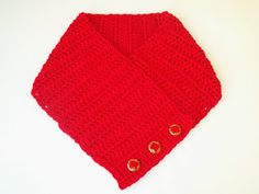 Buttoned Scarf in Cherry Red by BeyondCrochet on Etsy