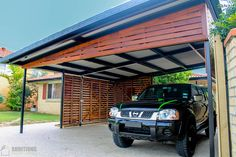 Brisbane Specialists in the Construction & Installation of Deck, Patio, Carport and Other Outdoor Features. Visit Additions Builders or Call 07 3396 Carport Garage, Pergola Carport, Deck With Pergola, Deck Patio, Metal Barn Homes, Metal Building Homes, Pole Barn Homes, Car Porch Design, Garage Design